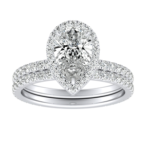 SKYLAR Halo Diamond Wedding Ring Set In 14K White Gold With 3.00ct. Pear Diamond