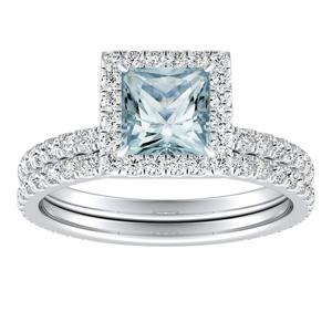 SKYLAR  Halo  Aquamarine  Wedding  Ring  Set  In  14K  White  Gold  With  1.00  Carat  Princess  Stone