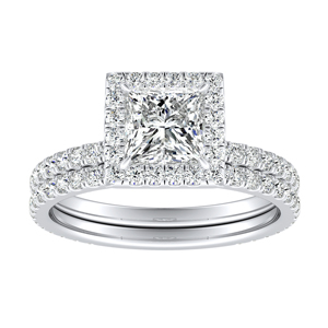 SKYLAR Halo Diamond Wedding Ring Set In 14K White Gold With 1.00ct. Princess Diamond