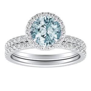 SKYLAR  Halo  Aquamarine  Wedding  Ring  Set  In  14K  White  Gold  With  1.00  Carat  Round  Stone
