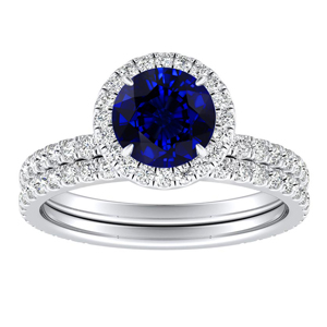 SKYLAR  Halo  Blue  Sapphire  Wedding  Ring  Set  In  14K  White  Gold  With  0.50  Carat  Round  Stone