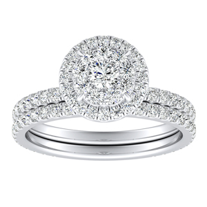 SKYLAR Halo Diamond Wedding Ring Set In 14K White Gold With 0.25 Carat Round Diamond In H-I SI1-SI2 Quality