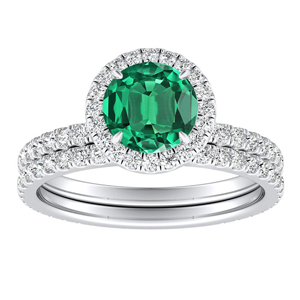 SKYLAR  Halo  Green  Emerald  Wedding  Ring  Set  In  14K  White  Gold  With  0.50  Carat  Round  Stone