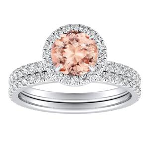 SKYLAR Halo Morganite Wedding Ring Set In 14K White Gold With 1.00 Carat Round Stone
