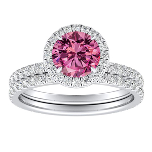 SKYLAR  Halo  Pink  Sapphire  Wedding  Ring  Set  In  14K  White  Gold  With  0.50  Carat  Round  Stone