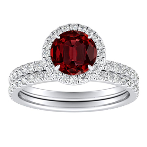 SKYLAR  Halo  Ruby  Wedding  Ring  Set  In  14K  White  Gold  With  0.50  Carat  Round  Stone