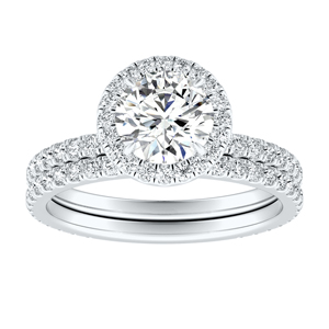 SKYLAR Halo Diamond Wedding Ring Set In 14K White Gold With 0.50ct. Round Diamond