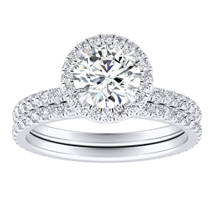 SKYLAR Halo Diamond Wedding Ring Set In 14K White Gold With 1.00ct. Round Diamond