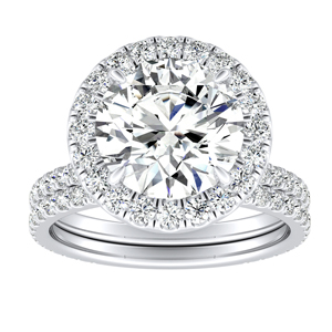 SKYLAR Halo Diamond Wedding Ring Set In 14K White Gold With 3.00ct. Round Diamond