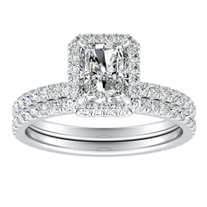 SKYLAR Halo Diamond Wedding Ring Set In 14K White Gold With 3.00ct. Radiant Diamond