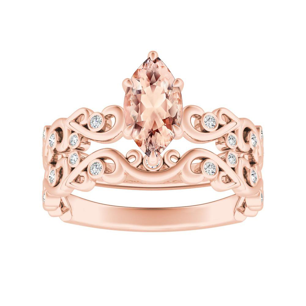 DAISY Morganite Wedding Ring Set In 14K Rose Gold With 1.00 Carat Marquise Stone
