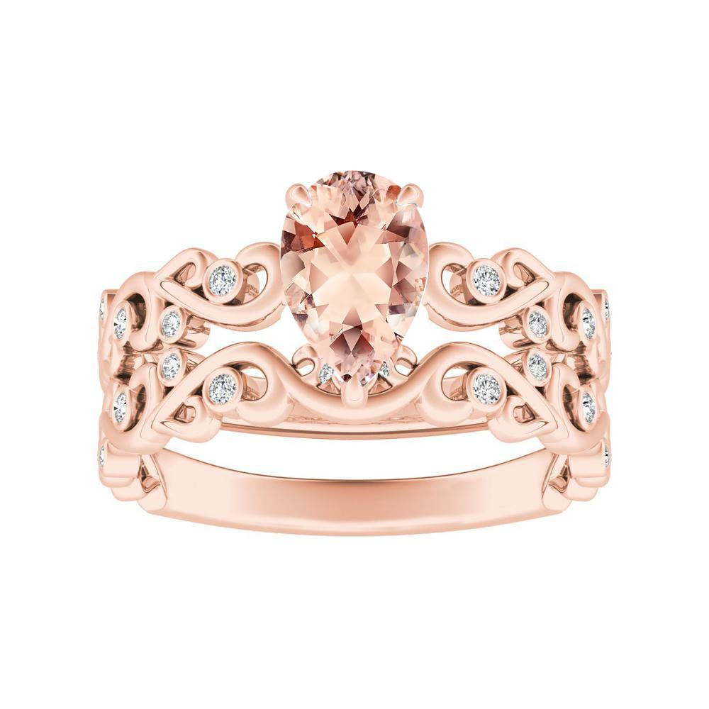 DAISY Morganite Wedding Ring Set In 14K Rose Gold With 1.00 Carat Pear Stone
