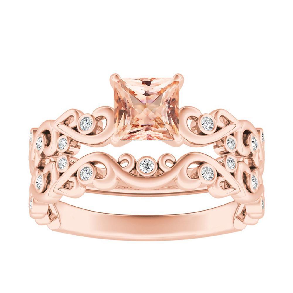 DAISY Morganite Wedding Ring Set In 14K Rose Gold With 1.00 Carat Princess Stone
