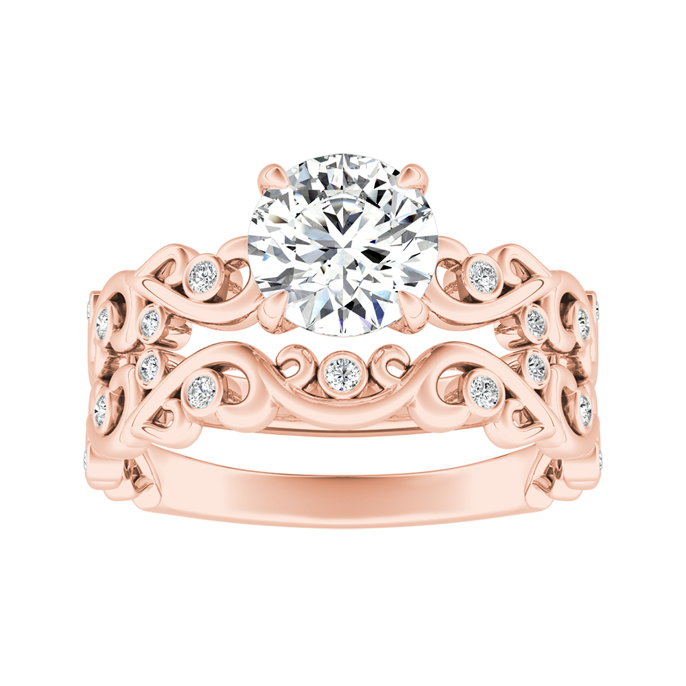 DAISY Moissanite Wedding Ring Set In 14K Rose Gold With 0.50 Carat Round Stone