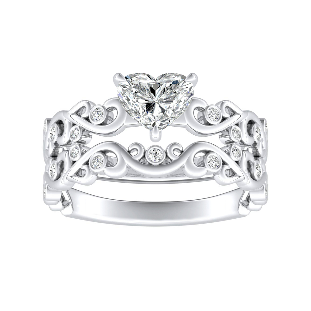DAISY Natures Curved Diamond Wedding Ring Set In 14K White Gold