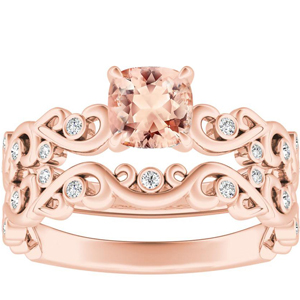 DAISY  Morganite  Wedding  Ring  Set  In  14K  Rose  Gold  With  1.00  Carat  Cushion  Stone