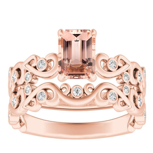 DAISY  Morganite  Wedding  Ring  Set  In  14K  Rose  Gold  With  1.00  Carat  Emerald  Stone