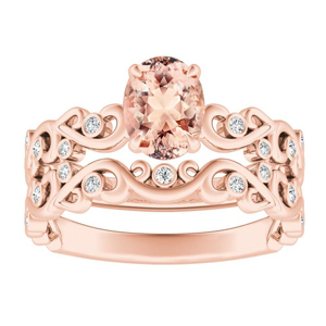 DAISY  Morganite  Wedding  Ring  Set  In  14K  Rose  Gold  With  1.00  Carat  Oval  Stone