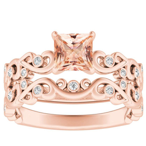 DAISY  Morganite  Wedding  Ring  Set  In  14K  Rose  Gold  With  1.00  Carat  Princess  Stone