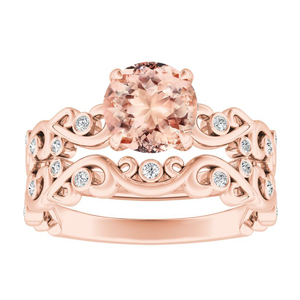 DAISY  Morganite  Wedding  Ring  Set  In  14K  Rose  Gold  With  1.00  Carat  Round  Stone