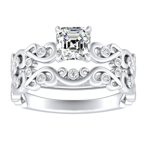 DAISY Natures Curved Diamond Wedding Ring Set In 14K White Gold With 3.00ct. Asscher Diamond