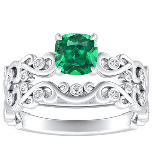 DAISY  Green  Emerald  Wedding  Ring  Set  In  14K  White  Gold  With  0.50  Carat  Cushion  Stone