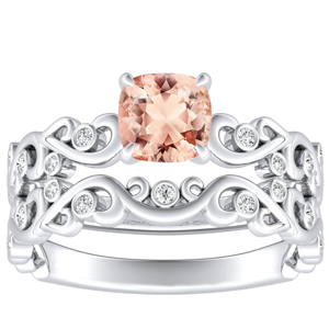 DAISY  Morganite  Wedding  Ring  Set  In  14K  White  Gold  With  1.00  Carat  Cushion  Stone