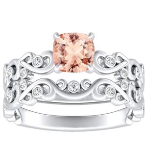 <span>DAISY</span> Morganite  Wedding  Ring  Set  In  14K  White  Gold  With  1.00  Carat  Cushion  Stone