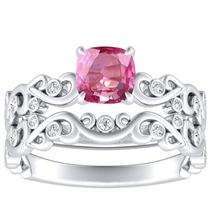 DAISY  Pink  Sapphire  Wedding  Ring  Set  In  14K  White  Gold  With  0.50  Carat  Cushion  Stone