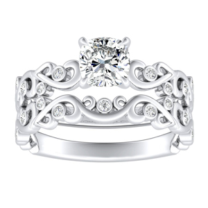 DAISY Natures Curved Diamond Wedding Ring Set In 14K White Gold With 3.00ct. Cushion Diamond