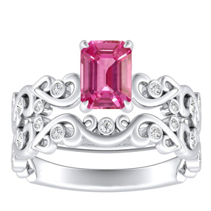 DAISY  Pink  Sapphire  Wedding  Ring  Set  In  14K  White  Gold  With  0.50  Carat  Emerald  Stone
