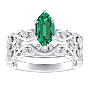 DAISY  Green  Emerald  Wedding  Ring  Set  In  14K  White  Gold  With  0.50  Carat  Marquise  Stone