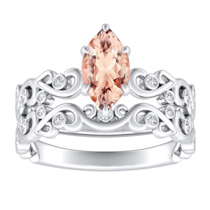 DAISY  Morganite  Wedding  Ring  Set  In  14K  White  Gold  With  1.00  Carat  Marquise  Stone