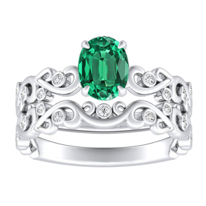 DAISY  Green  Emerald  Wedding  Ring  Set  In  14K  White  Gold  With  0.50  Carat  Oval  Stone