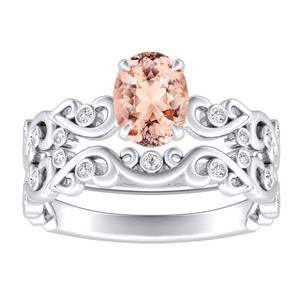 DAISY  Morganite  Wedding  Ring  Set  In  14K  White  Gold  With  1.00  Carat  Oval  Stone