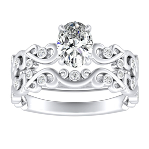 DAISY Natures Curved Diamond Wedding Ring Set In 14K White Gold With 3.00ct. Oval Diamond