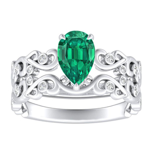DAISY  Green  Emerald  Wedding  Ring  Set  In  14K  White  Gold  With  0.50  Carat  Pear  Stone
