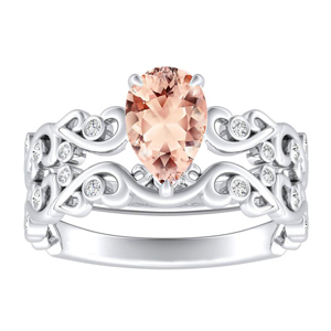 DAISY  Morganite  Wedding  Ring  Set  In  14K  White  Gold  With  1.00  Carat  Pear  Stone