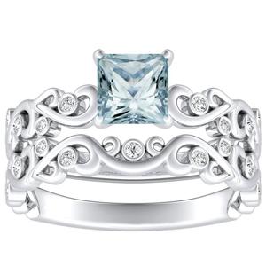 DAISY  Aquamarine  Wedding  Ring  Set  In  14K  White  Gold  With  1.00  Carat  Princess  Stone