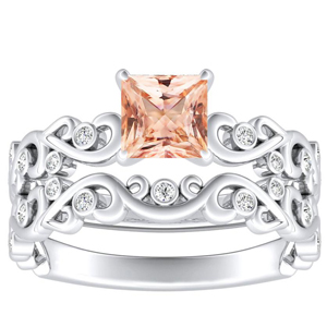 DAISY  Morganite  Wedding  Ring  Set  In  14K  White  Gold  With  1.00  Carat  Princess  Stone