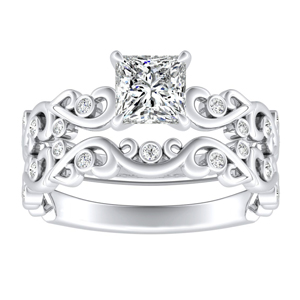 DAISY Natures Curved Diamond Wedding Ring Set In 14K White Gold With 3.00ct. Princess Diamond