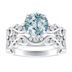 DAISY  Aquamarine  Wedding  Ring  Set  In  14K  White  Gold  With  1.00  Carat  Round  Stone