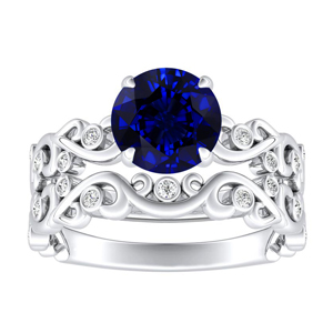 DAISY  Blue  Sapphire  Wedding  Ring  Set  In  14K  White  Gold  With  0.50  Carat  Round  Stone