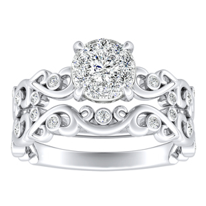 DAISY Diamond Wedding Ring Set In 14K White Gold With 0.25 Carat Round Diamond H-I SI1-SI2 Quality
