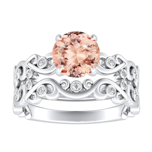 DAISY  Floral  Morganite  Wedding  Ring  Set  In  14K  White  Gold  With  1.00  Carat  Round  Stone