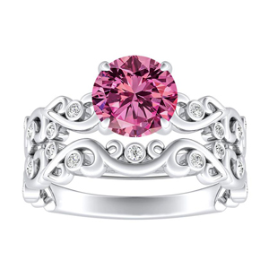 DAISY  Pink  Sapphire  Wedding  Ring  Set  In  14K  White  Gold  With  0.50  Carat  Round  Stone