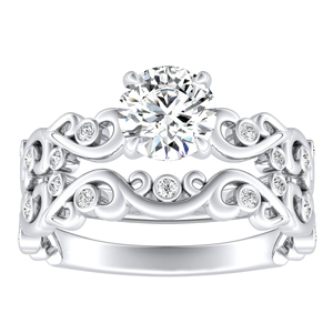 DAISY Natures Curved Diamond Wedding Ring Set In 14K White Gold With 0.50ct. Round Diamond