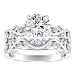 DAISY Natures Curved Diamond Wedding Ring Set In 14K White Gold With 1.00ct. Round Diamond