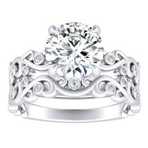 DAISY Natures Curved Diamond Wedding Ring Set In 14K White Gold With 3.00ct. Round Diamond