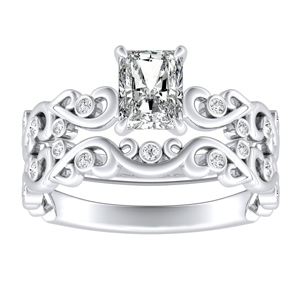 DAISY Natures Curved Diamond Wedding Ring Set In 14K White Gold With 3.00ct. Radiant Diamond